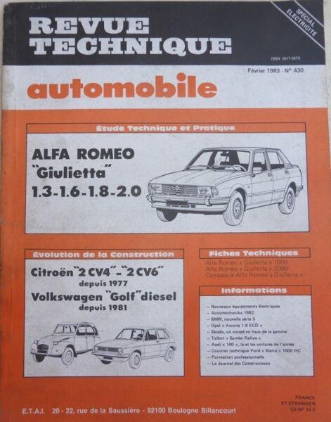 Alfa Romeo Giulietta 1.3 1.6 1.8 2.0 Revue Technique Rta N° 430 1983
