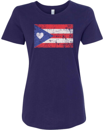Puerto Rico Flag With Heart Women/'s Fitted T-Shirt Rican US Pride