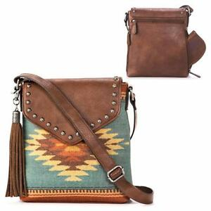 cf875799c3b6 Details about Blazin Roxx Western Womens Purse Zapotec Crossbody Concealed  Brown N7531902