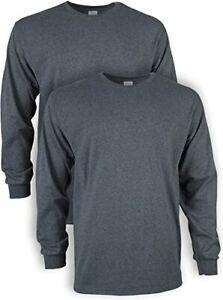 Gildan Men's Ultra Cotton Adult Long Sleeve T-Shirt, 2-Pack, Dark Heather, M