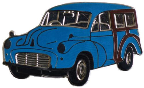 Blue Morris Minor Traveller car cut out lapel pin