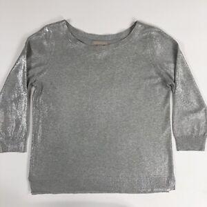 Banana-Republic-Womens-Boat-Neck-3-4-Sleeve-Metallic-Silver-Sweater-Size-M