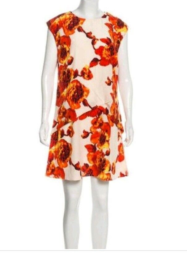 Thakoon Size 6 Overlay drape cream red Floral Floral Floral Silk Tunic Dress NWT b1807a