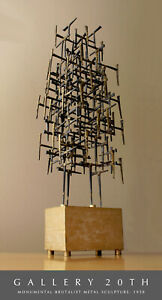 EPIC! BRUTALIST DIRECT METAL SCULPTURE! MID CENTURY MODERN FINE ART ATOMIC NAIL