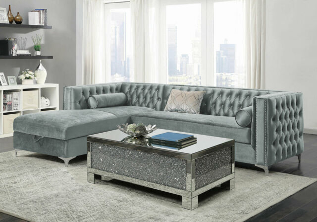 Modern Classic Recliner Chenille Gray Sectional Sofa Console Chaise ...