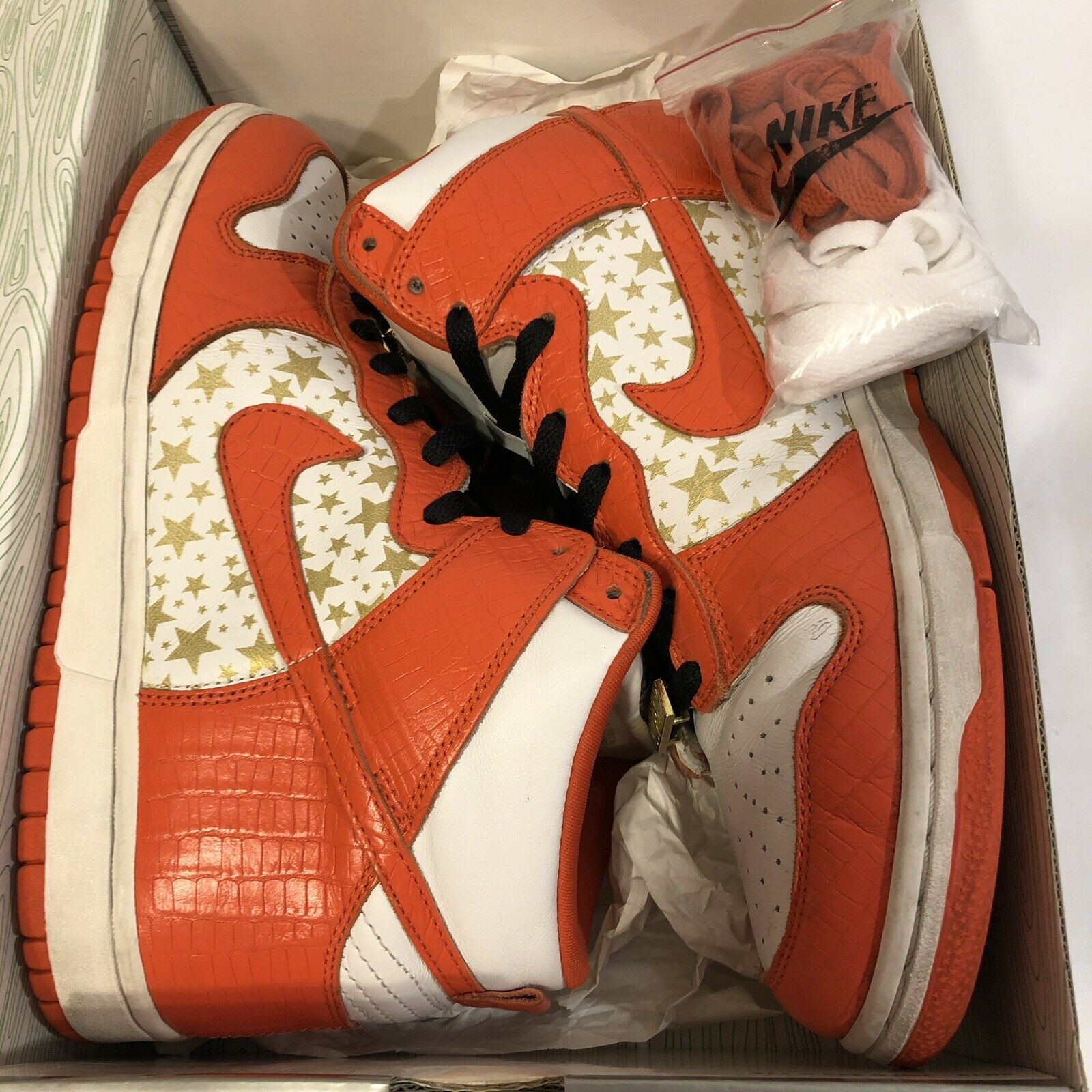 Nike Dunk High Pro SB Supreme White College College College orange Stars 307385 181 Sz 10.5 gold 645c65