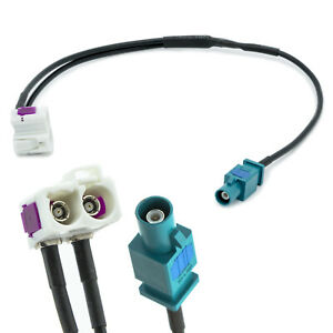 Antennen-Adapter-FAKRA-Doppel-Buchse-auf-Stecker-fuer-VW-Audi-Seat-Skoda-RCD-RNS