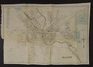 New York, Franklin County Map, 1876 City of Malone Z2#22 | eBay
