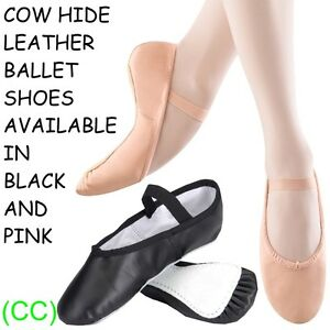 Pink-amp-Black-LEATHER-Ballet-Dance-Shoes-full-suede-sole-with-jig-pumps-CC