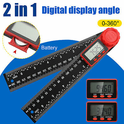 "Electronic LCD Digital Angle Finder 8/"" 200mm Protractor Ruler Goniometer+Battery"