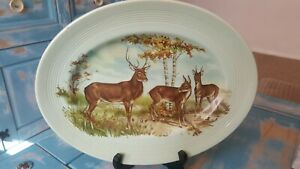 Vintage-Liverpool-Road-Pottery-Large-Light-Green-Oval-Plate-Three-Deer