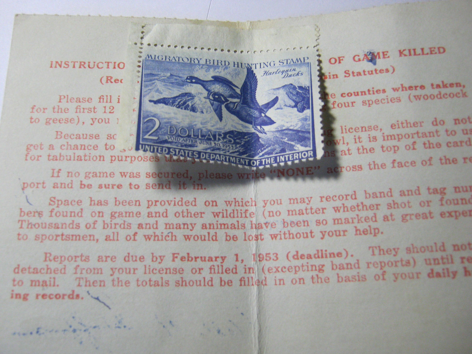 RESIDENT GAME HUNTING LICENSE AND MIGRATORY BIRD BIRD BIRD HUNTING STAMP  1952 1953  T fdbf97