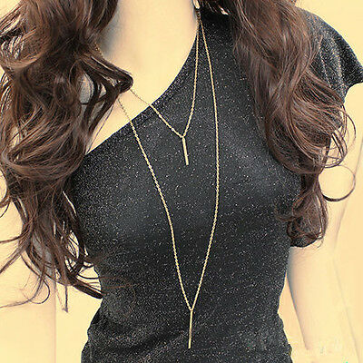 Long Bohemian Sweater Chain Womens Gold Plated Vertical Bar Pendant Necklace
