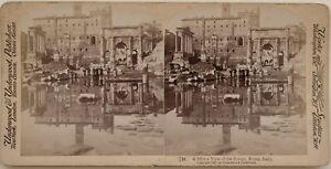 Roma-Forum-Riflessione-Specchio-Foto-Stereo-Vintage-Albumina-1897