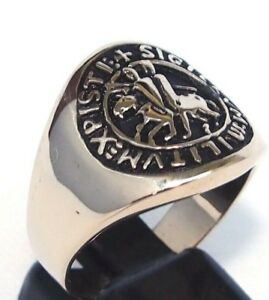 Men-039-s-Templar-Knight-Coat-Of-Arms-Ring-Christian-Crusader-Medieval-Jerusalem