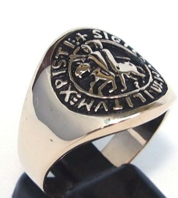 Men's Templar Knight Coat Of Arms Ring Christian Crusader Medieval Jerusalem