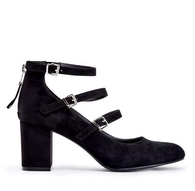Justfab Marya Mujer Reino Unido 5 Negro Imitación Gamuza Triple Hebilla Botas/Zapatos De Salón Nuevo