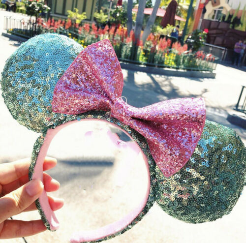 Disney Parks Sugar Rush Mint Green /& Pink Glitter Minnie Sequin Ears Headband