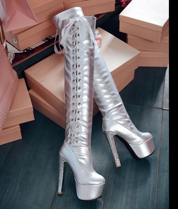 Plataforma 15cm Para Dama Mujer La Rodilla botas Altas Altas Altas Con Cordones Combate Zapatos Taco de Bloque Grueso  barato en línea