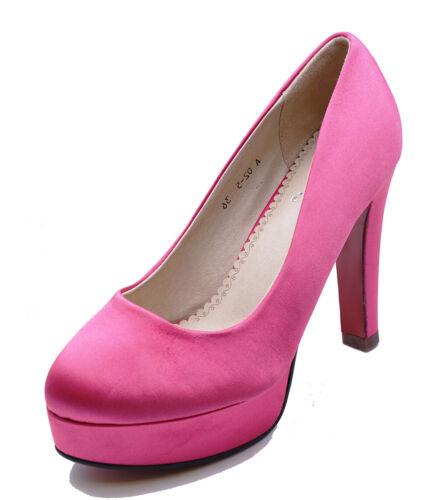 Linea donna rosa raso Nuziale Damigella D/'OnOre Da Sera CORTE SCARPE MISURE UK 2-7
