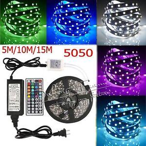 5M-10M-15M-5050-RGB-White-SMD-Flexible-Light-LED-Strip-Power-24-44-KeysRemote-IR