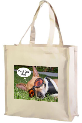 Chihuahua Dog Cotton Shopping Bag Cool Dude Choice of Colours.