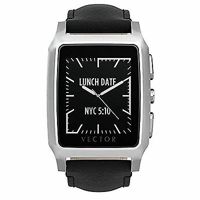 Vector Meridian Brushed Smart Watch - Steel/Black Leather