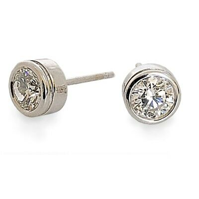 Studs Earrings Solitaire 0.20 Ct Round Diamond SI1 G 14K White Gold Bezel Set