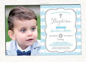 Boy Baptism Invitation Baby Blue Silver Christening Invite First