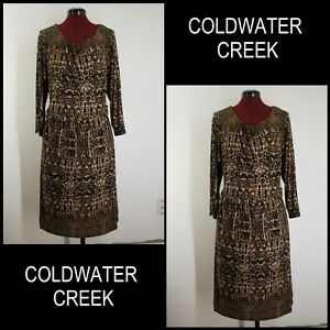 Coldwater-Creek-Woman-Formal-Work-Stretch-With-Line-Dress-Size-18-Brown-Cocktail