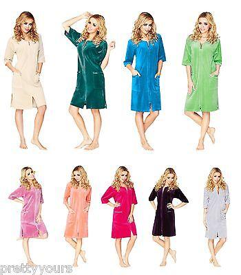 Womens Cotton Robe Housecoat Dressing Gown Dress Velour Bathrobe Zip Up UK 10-20