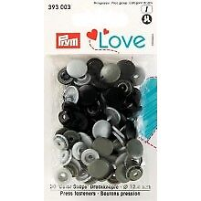 Prym 30 Love Color Snaps  Druckknöpfe 12,4 mm grau sortiert  393003