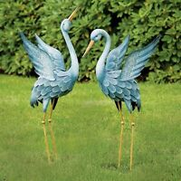 Garden Egret Heron Blue Art Sculpture Two Metal Stand Decor Outdoor Yard Gift