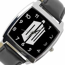 DR WHO  Stainless Steel BLACK LEATHER FILM MOVIE DVD SQUARE SCI FI  WATCH