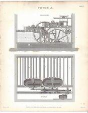 1820 GEORGIAN print PAPER MILL plan elevation Rees DIAGRAMS