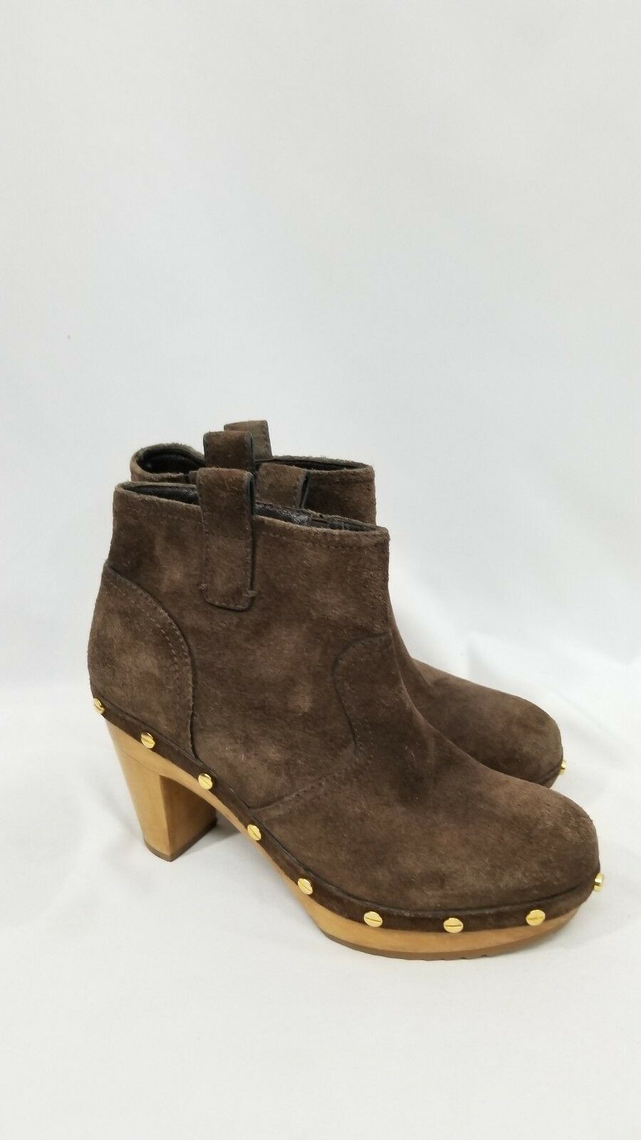 Tory Burch Brown Suede Studded Wooden Heel Heel Heel Ankle Boots Womens Size 7M 53f373