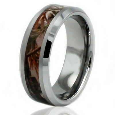 Men's Tungsten Carbide Forest Woods Camouflage Engravable Wedding Ring