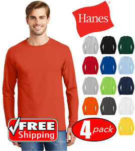 006fdc24 4 PACK Hanes Tagless Cotton Long Sleeve T Shirt Mens Blank Casual ...