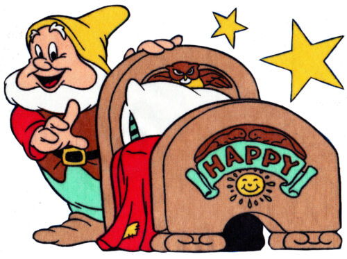 """8/"""" Disney 7 seven dwarfs happy set wall safe fabric decal cut out character"""