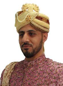 Mens Handmade Hat Turban Pagdi Kulla Indian Wedding Bollywood All ... 0a07f020b