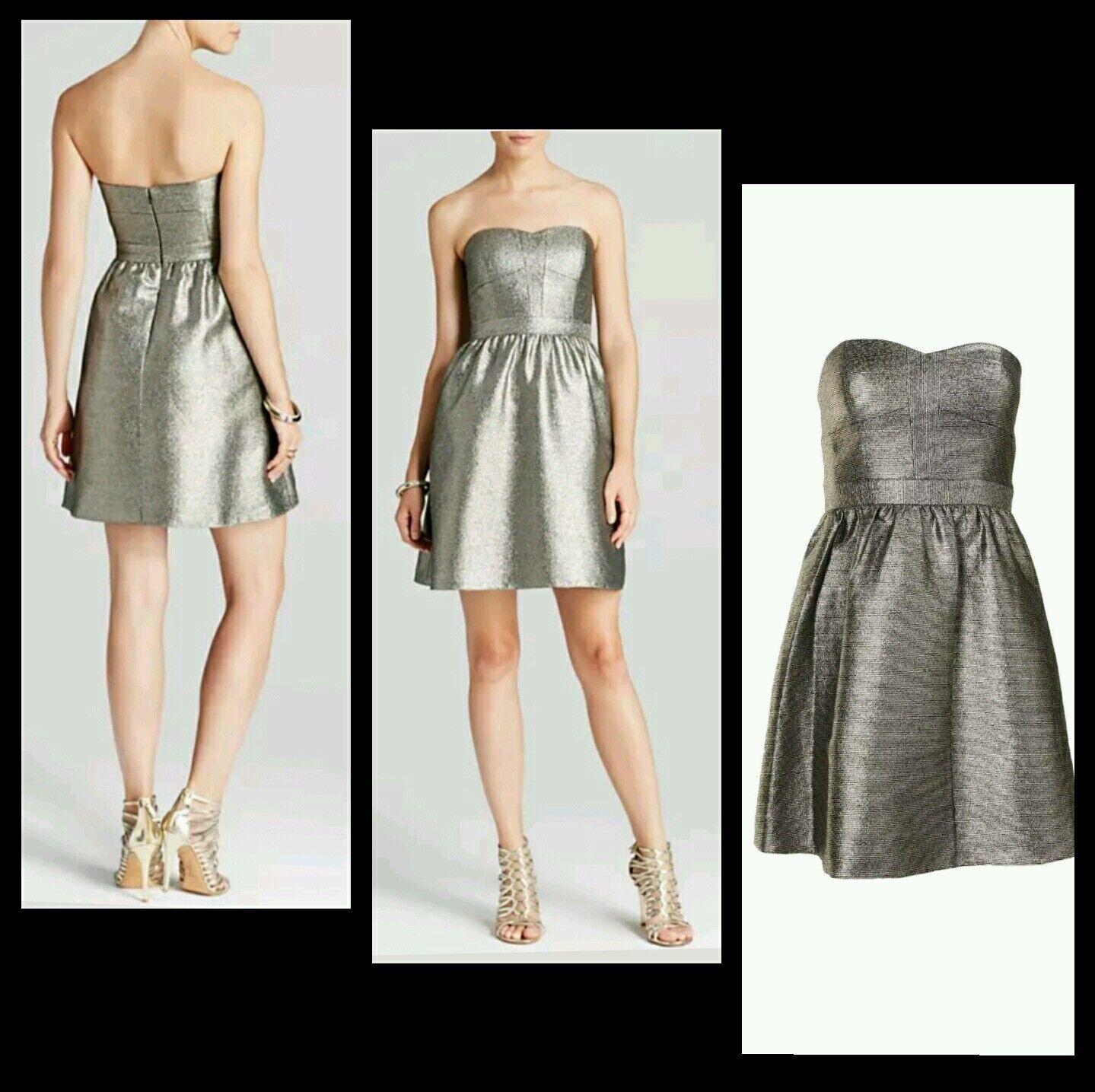 AQUA Metallic Gold Strapless Fit Flare Cocktail Party Pocket Dress8  M3020