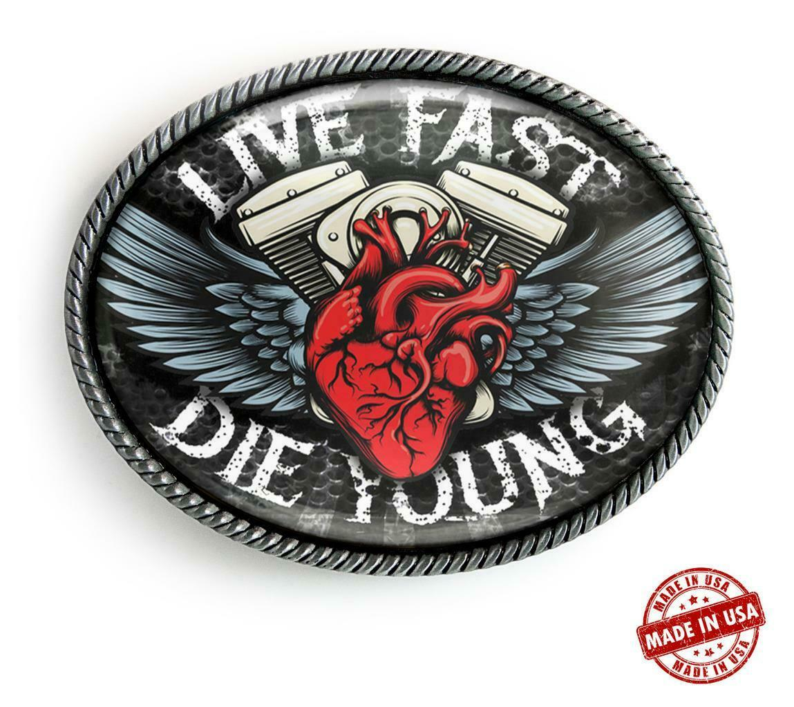 Live Fast Motorcycle Wings High Quality Artisan Handmade Belt Buckle