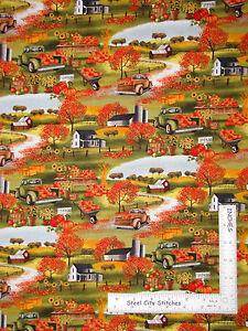 Autumn-Pumpkin-Farm-House-Scenic-Cotton-Fabric-Timeless-Treasures-C4337-Yard