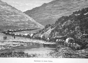 IMMIGRANT-CARAVAN-Passing-thru-Canyon-1883-German-Print