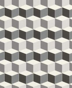 Details About 3d Effect Geometric Square Wallpaper Paste Wall Vinyl Black White Uptown Modern