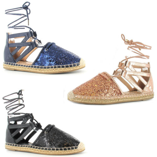 Ladies Womens Sandals Summer Gladiator Toe Cover Glitter Strap Tie Up UK 3-8