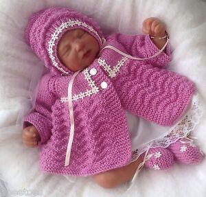Baby-Knitting-Pattern-52-TO-KNIT-Girls-Reborn-Dolls-Clothes-Matinee-Set-DK-Yarn