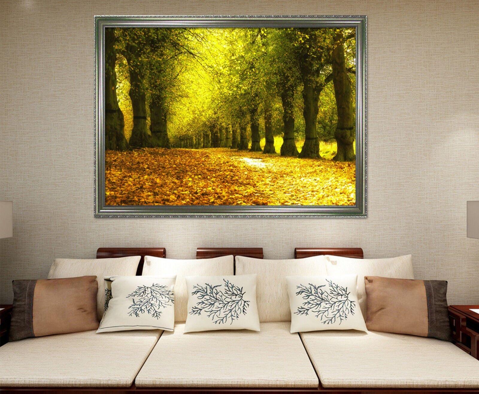 3D Blinkender Goldener Wald 3 Gerahmt Poster Daheim Dekor Drucken Malerei Kunst