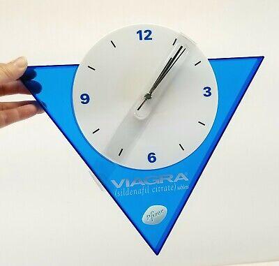 Viagra Pfizer Sales Rep Advertising Clock Battery Blue White Plastic Nib Mint Ebay
