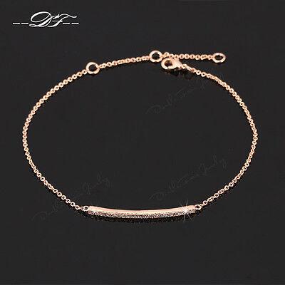 Micro Paved CZ Stone Simple Elegant Chain Bracelet & Bangle Jewelry For Women